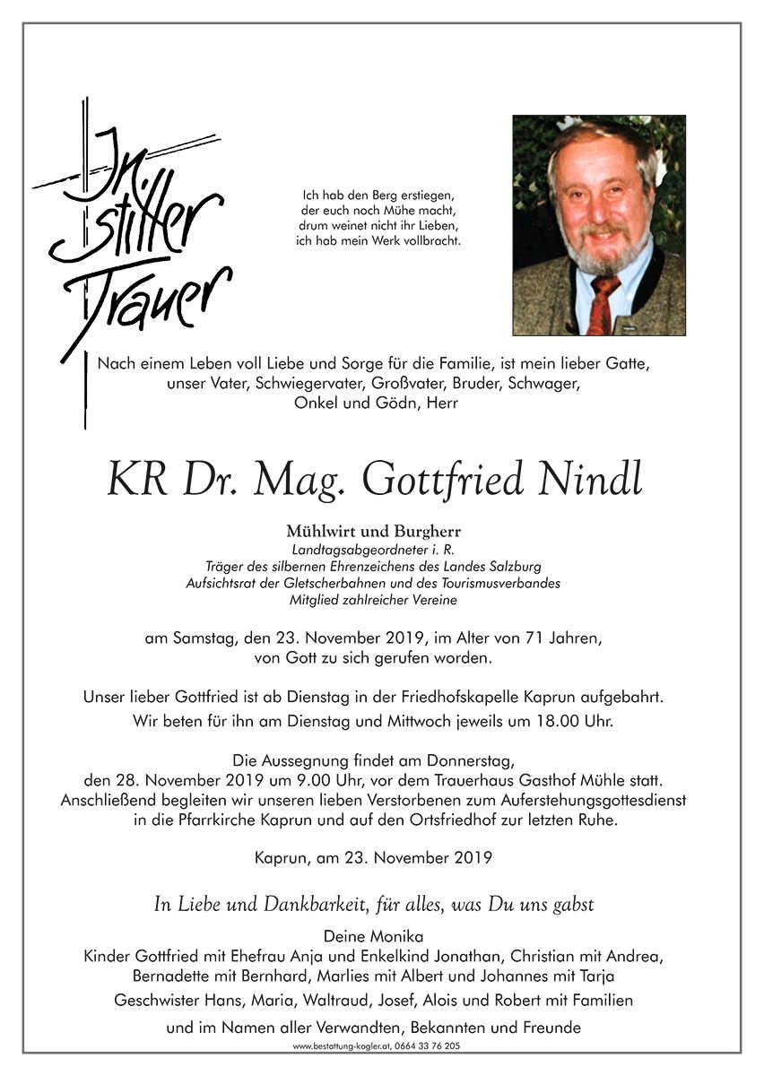 Nindl Gottfried † 23.11.2019